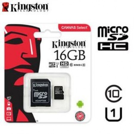 Kingston Micro SDHC Canvas Memory Card 16GB Class10